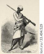 Portrait of Hazara mountaineer, India. Trip to Punjab and Kashmir by Guillaume Lejean. Old engraving El Mundo en la Mano 1878. Стоковое фото, фотограф Jerónimo Alba / age Fotostock / Фотобанк Лори