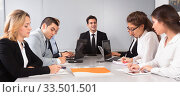 Купить «colleagues in negotiations in conference room», фото № 33501501, снято 25 мая 2020 г. (c) Татьяна Яцевич / Фотобанк Лори
