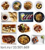 Купить «Collage of tasty Japanese dishes on white background», фото № 33501669, снято 9 апреля 2020 г. (c) Яков Филимонов / Фотобанк Лори