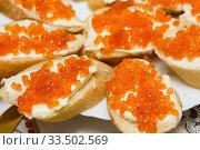Бутерброды с красной икрой на тарелке. Стоковое фото, фотограф Игорь Низов / Фотобанк Лори
