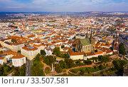 Купить «Panoramic view from the drone on the city Brno. Czech Republic», фото № 33507581, снято 15 октября 2019 г. (c) Яков Филимонов / Фотобанк Лори