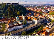 Aerial view of Ljubljana city, Slovenia (2019 год). Стоковое фото, фотограф Яков Филимонов / Фотобанк Лори
