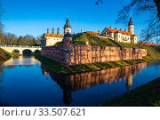 View of Nesvizh Castle, Belarus. Стоковое фото, фотограф Яков Филимонов / Фотобанк Лори