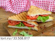 Купить «Sandwich with tomatoes, cheese and ham on a dark, wooden background», фото № 33508817, снято 8 апреля 2020 г. (c) Марина Володько / Фотобанк Лори