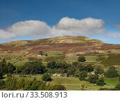 Купить «Scattered woodland and fields surrounded by drystone walls, moorland above. Yorkshire Dales National Park, England, UK. September 2019.», фото № 33508913, снято 8 июля 2020 г. (c) Nature Picture Library / Фотобанк Лори