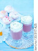 Купить «Cocoa drink in glass and on a table», фото № 33517425, снято 9 апреля 2020 г. (c) age Fotostock / Фотобанк Лори