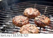 close up of meat cutlets roasting on grill. Стоковое фото, фотограф Syda Productions / Фотобанк Лори