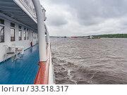 Купить «Empty deck of the ship in rainy weather», фото № 33518317, снято 29 июня 2019 г. (c) Дмитрий Тищенко / Фотобанк Лори