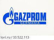 Gazprom, logo on the stand at the trade fair E-world energy & water, Essen, North Rhine-Westphalia, Germany, Europe. Редакционное фото, агентство Caro Photoagency / Фотобанк Лори