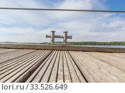 Купить «Bollard on a wooden pier», фото № 33526649, снято 23 мая 2018 г. (c) Дмитрий Тищенко / Фотобанк Лори