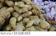 Closeup of raw ginger roots. Popular seasoning in worldwide cuisines and remedy of folk medicine. Стоковое видео, видеограф Яков Филимонов / Фотобанк Лори