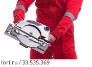 Male carpenter with circular saw in woodworking concept isolated. Стоковое фото, фотограф Elnur / Фотобанк Лори
