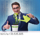 Купить «Businessman in new business concept», фото № 33535605, снято 27 мая 2020 г. (c) Elnur / Фотобанк Лори