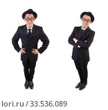 Купить «Funny gentleman in striped suit isolated on white», фото № 33536089, снято 27 октября 2013 г. (c) Elnur / Фотобанк Лори
