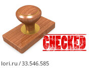 Checked wooded seal stamp image with hi-res rendered artwork that could be used for any graphic design. Стоковое фото, фотограф Zoonar.com/Yann Tang / age Fotostock / Фотобанк Лори