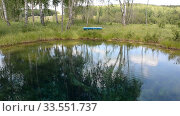 Lake, forest, reflection, water, trees. Стоковое видео, видеограф Mikhail Erguine / Фотобанк Лори