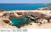 Video of Arch of Korakas (Kamara tou Koraka) on the Cape Greko coast. Cyprus. Стоковое видео, видеограф Serg Zastavkin / Фотобанк Лори