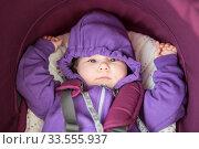 Caucasian infant child lying inside of pram with hands up, portrait, looking at camera. Стоковое фото, фотограф Кекяляйнен Андрей / Фотобанк Лори
