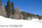 Купить «Beautiful mountains covered with snow. Sunny day and blue sky on a frosty day», фото № 33558537, снято 5 марта 2019 г. (c) Олег Хархан / Фотобанк Лори