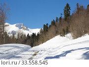 Купить «Beautiful mountains covered with snow. Sunny day and blue sky on a frosty day», фото № 33558545, снято 5 марта 2019 г. (c) Олег Хархан / Фотобанк Лори