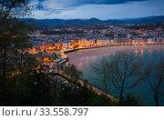Купить «Panorama of San Sebastian in twilight», фото № 33558797, снято 20 апреля 2016 г. (c) Яков Филимонов / Фотобанк Лори