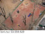 Купить «Пустая детская площадка во время эпидемии коронавируса, Россия, Королев», фото № 33559929, снято 15 апреля 2020 г. (c) chaoss / Фотобанк Лори