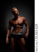 Купить «Advertising underwear. Photo of sexy man posing in briefs», фото № 33563629, снято 14 июля 2020 г. (c) easy Fotostock / Фотобанк Лори