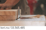 Купить «Carpentry industry - man grinding the side on the piece of wood», видеоролик № 33565485, снято 2 июня 2020 г. (c) Константин Шишкин / Фотобанк Лори