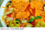 Купить «BBQ Ranch Pasta Salad, Southwest cuisine, Traditional assorted American dishes, Top view.», фото № 33569697, снято 6 июля 2020 г. (c) easy Fotostock / Фотобанк Лори