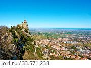 Купить «San Marino and Borgo Maggiore», фото № 33571233, снято 28 февраля 2020 г. (c) Роман Сигаев / Фотобанк Лори