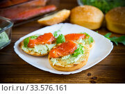 sandwich with fried bun, cheese spread and red fish in a plate. Стоковое фото, фотограф Peredniankina / Фотобанк Лори