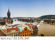 View of Prague, the Vltava river and the old water tower with a clock. Czech Republic (2014 год). Стоковое фото, фотограф Наталья Волкова / Фотобанк Лори