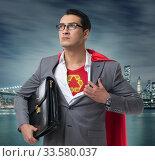 Купить «Businessman in superhero concept with red cover», фото № 33580037, снято 4 июля 2020 г. (c) Elnur / Фотобанк Лори