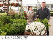Купить «Couple with flowers in shopping cart in store», фото № 33580781, снято 17 марта 2020 г. (c) Яков Филимонов / Фотобанк Лори