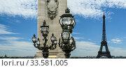 The Alexander III bridge and Eiffel Tower- Paris, France (2012 год). Стоковое фото, фотограф Владимир Журавлев / Фотобанк Лори