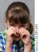 Портрет плачущей  десятилетней девочки, европейской внешности, крупный план. Стоковое фото, фотограф Иванов Алексей / Фотобанк Лори
