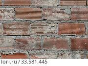 Купить «Background wall of corrugated brick and cement putty», фото № 33581445, снято 16 апреля 2020 г. (c) ok_fotoday / Фотобанк Лори