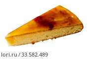 Piece of tasty Catalan cream pie closeup. Стоковое фото, фотограф Яков Филимонов / Фотобанк Лори