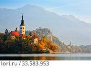 Купить «Lake Bled and Bled Island at dawn, Bled, Gorenjska, Slovenia, October 2008», фото № 33583953, снято 29 мая 2020 г. (c) Nature Picture Library / Фотобанк Лори