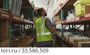 Купить «Worker walking between two shelves», видеоролик № 33586509, снято 28 сентября 2019 г. (c) Wavebreak Media / Фотобанк Лори