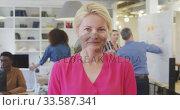 Купить «Business woman smiling at the camera», видеоролик № 33587341, снято 9 ноября 2019 г. (c) Wavebreak Media / Фотобанк Лори