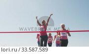 Купить «Athletics women arriving at finish line», видеоролик № 33587589, снято 30 января 2020 г. (c) Wavebreak Media / Фотобанк Лори