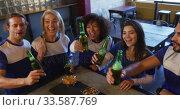 Купить «Friends at the bar in a pub having fun», видеоролик № 33587769, снято 15 ноября 2019 г. (c) Wavebreak Media / Фотобанк Лори