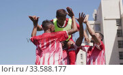 Купить «Soccer players celebrating on field», видеоролик № 33588177, снято 28 января 2020 г. (c) Wavebreak Media / Фотобанк Лори