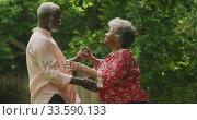Купить «A senior african american couple spending time together dancing in the garden social distancing in q», видеоролик № 33590133, снято 12 ноября 2019 г. (c) Wavebreak Media / Фотобанк Лори