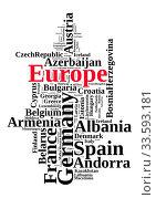 Countries in europe word cloud concept. Стоковое фото, фотограф Zoonar.com/Encho Enevski / easy Fotostock / Фотобанк Лори