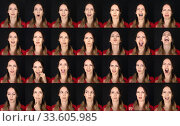 Actor Emotion Card. Collage of Young adult woman with various expressions positive six emotions. Стоковое фото, фотограф katalinks / Фотобанк Лори