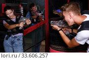 Group portrait of jolly people with laser guns. Стоковое фото, фотограф Яков Филимонов / Фотобанк Лори