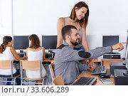 Students studying in computer class. Стоковое фото, фотограф Яков Филимонов / Фотобанк Лори