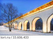 Арки акведука Arches of the Rostokinsky aqueduct (2020 год). Стоковое фото, фотограф Baturina Yuliya / Фотобанк Лори